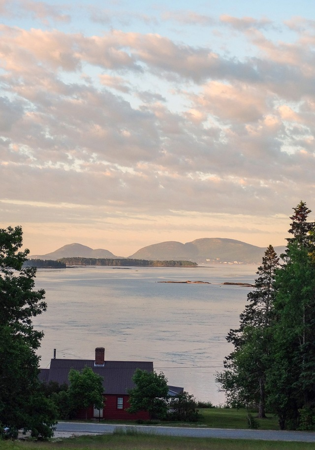 maine mountains bay and sunrise