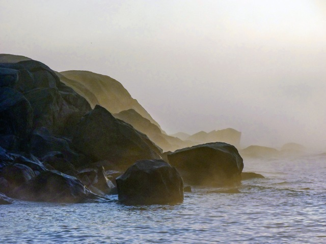 bass rocks in fog